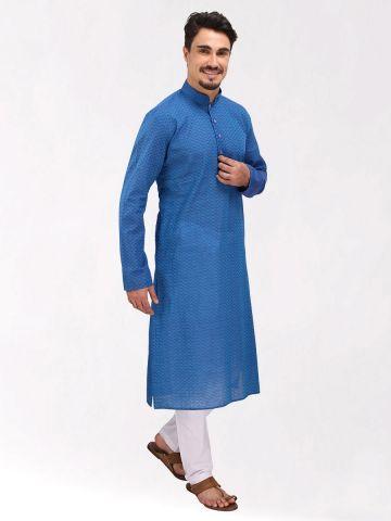 Blue Handloom Dobby Cotton Kurta