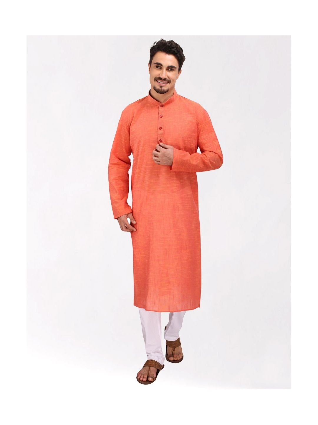 Light Orange Slub Cotton Kurta