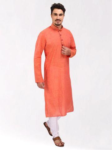 Light Orange Slub Cotton Kurta