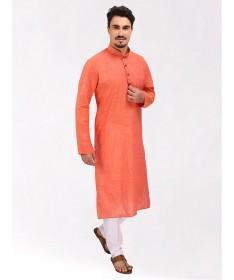 Light Orange Handloom Cotton Kurta