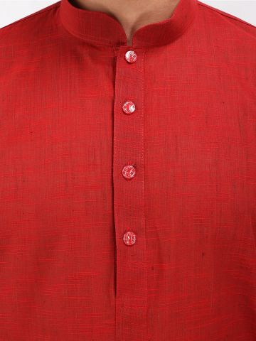 Red Slub Cotton Kurta