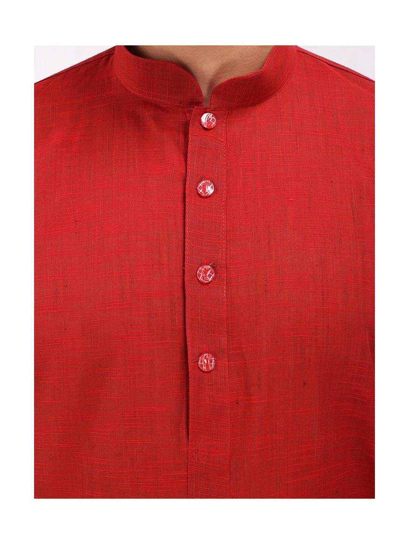 Red Slub Cotton Kurta