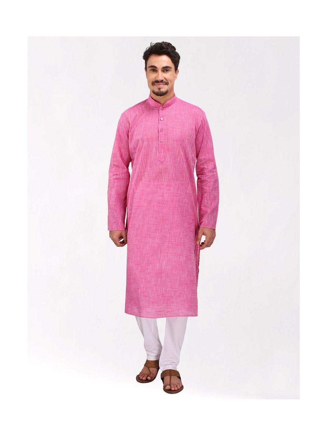 Pink Slub Cotton Kurta