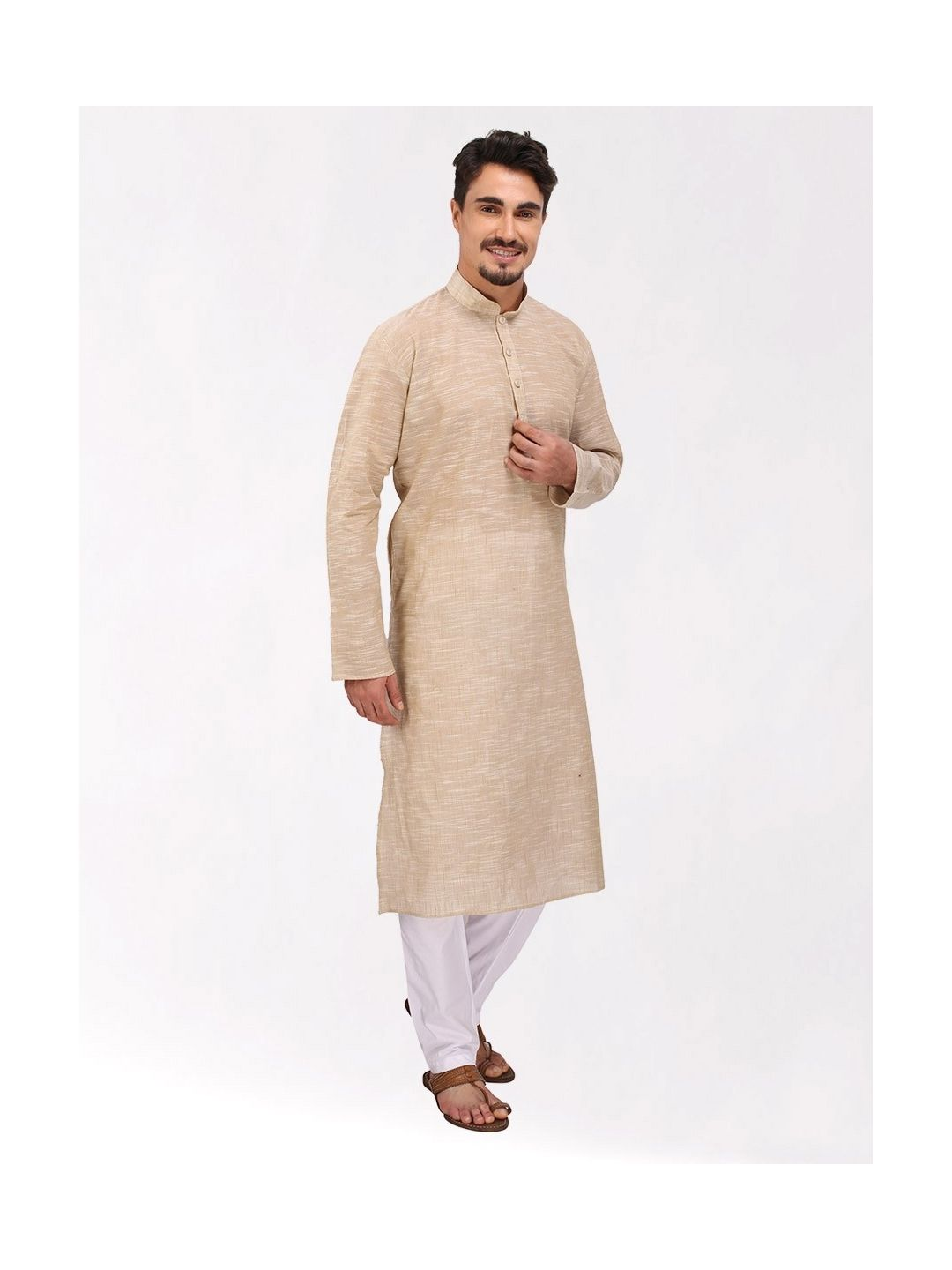 Cream Slub Cotton Kurta