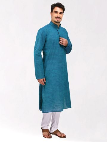 Teal Blue Slub Cotton Kurta