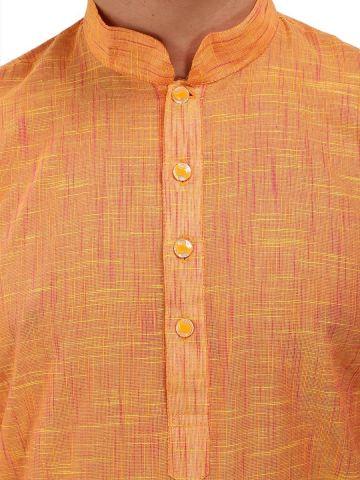 Yellow Textured Cotton Kurta