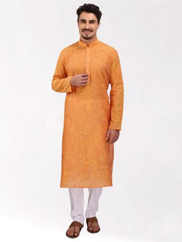 Yellow Slub Cotton Kurta