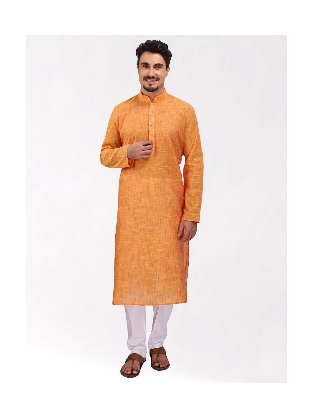 Yellow Textured Cotton Kurta