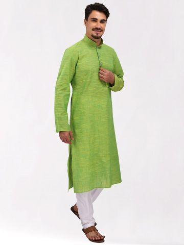 Green Slub Cotton Kurta
