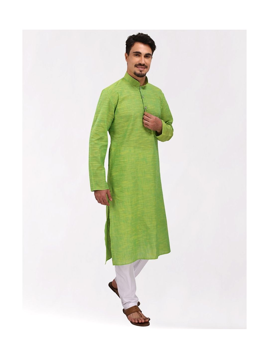 Green Textured Cotton Kurta