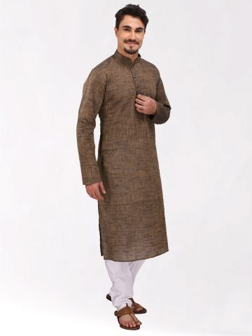 Brown Slub Cotton Kurta