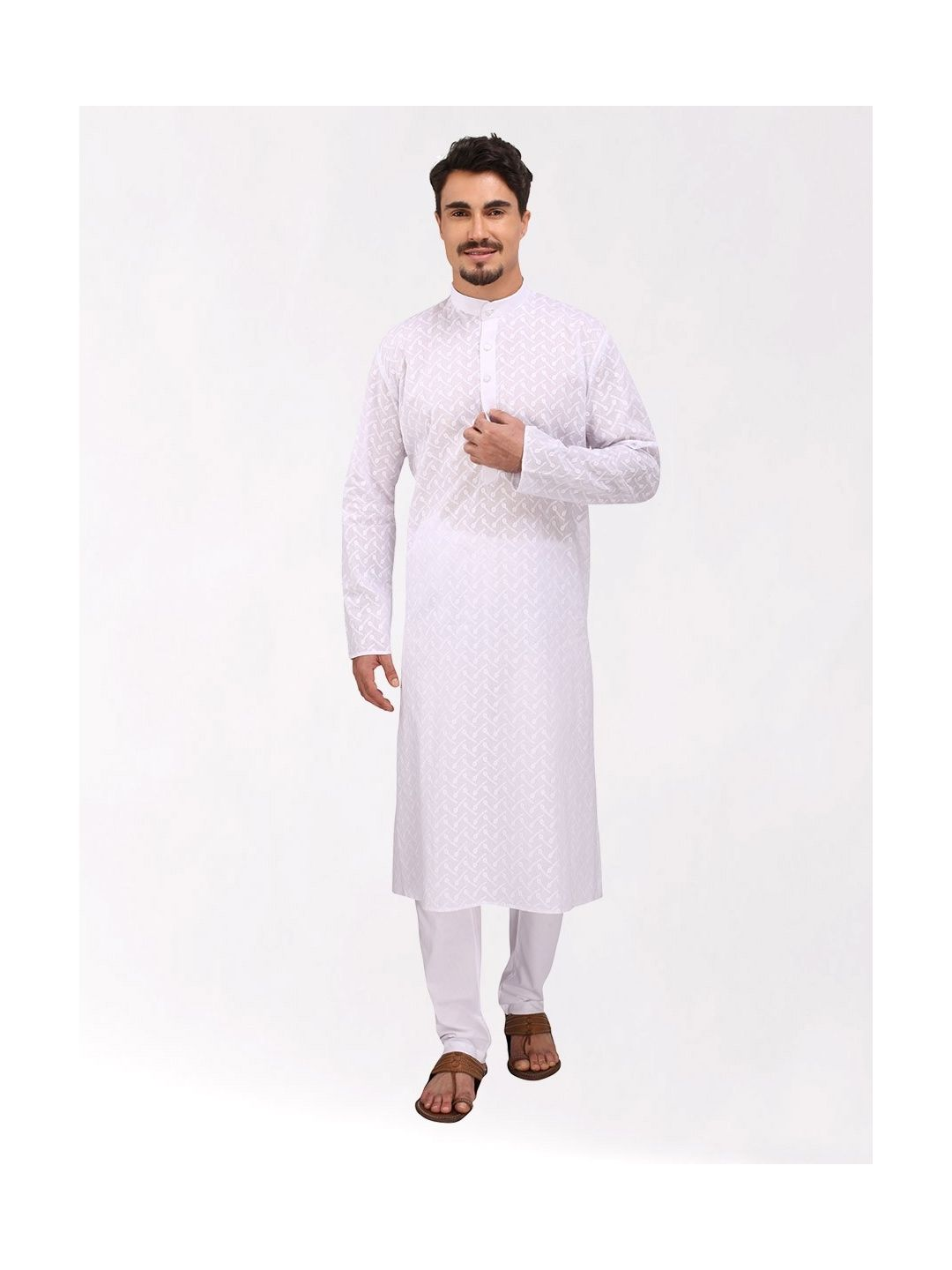 White Chikankari Cotton Kurta