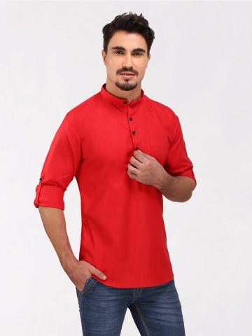 Red Roll Up Sleeve Cotton Short Kurta