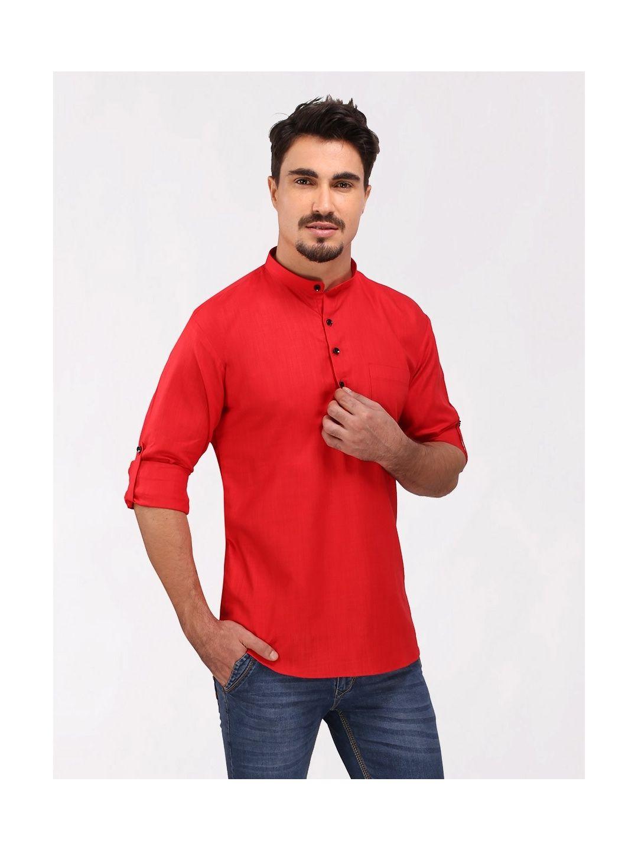 Red Roll Up Sleeve Cotton Short Kurta