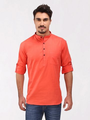 Tomato Red Roll Up Sleeve Cotton Short Kurta