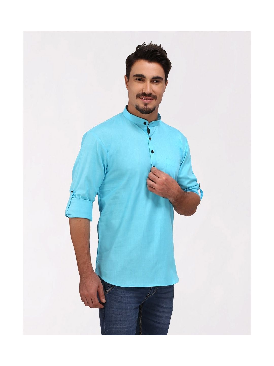 Sky Blue Roll Up Sleeve Cotton Short Short Kurta