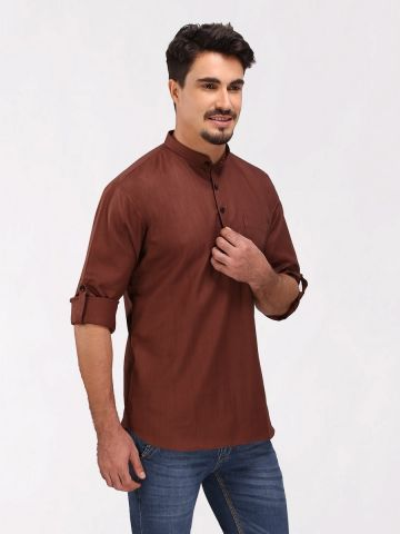 Dark Brown Roll Up Sleeve Cotton Short Kurta
