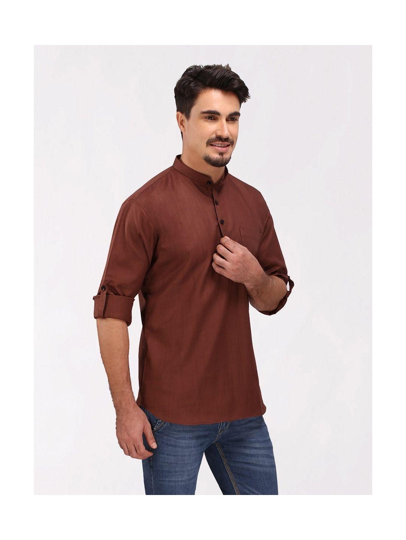 Dark Brown Roll Up Sleeve Cotton Short Kurta