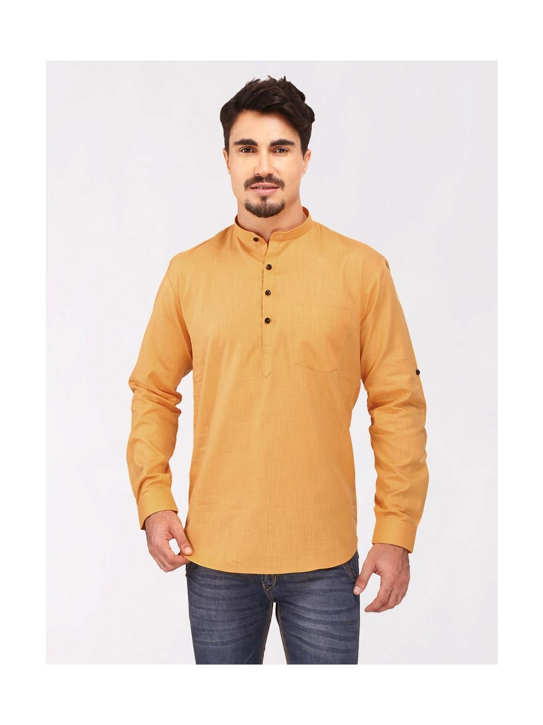 Gold Roll Up Sleeve Cotton Short Kurta
