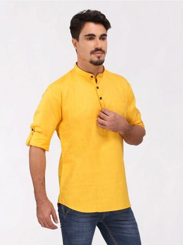 Yellow Roll Up Sleeve Cotton Short Kurta