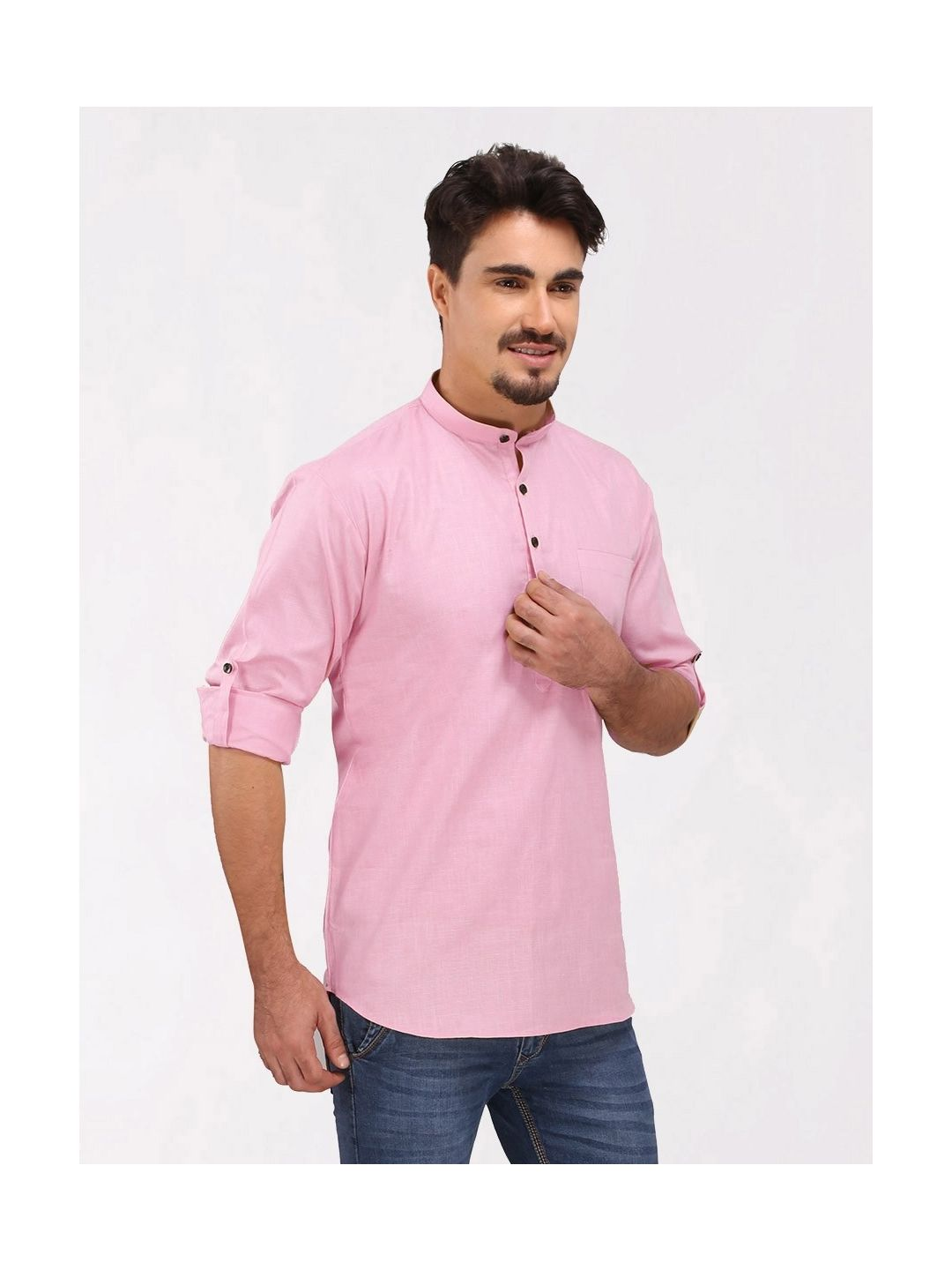Pink Roll Up Sleeve Cotton Short Kurta