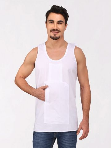 White Cotton Travel Vest (Sleeveless)