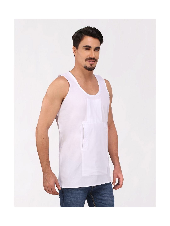 White Cotton Travel Vest (Sleeveless)