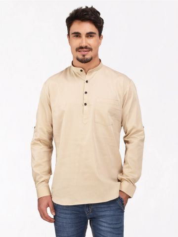 Fawn Roll Up Sleeve Cotton Short Kurta