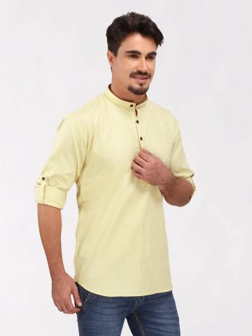 Lemon Yellow Roll Up Sleeve Cotton Short Kurta