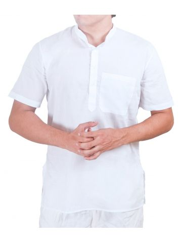White SuperFine Cotton Short Kurta (Mandarin Collar Pehran)