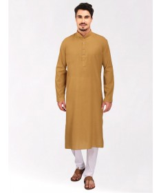 Gold Tussar Cotton Long Kurta