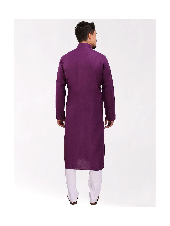 Purple Tussar Cotton Long Kurta