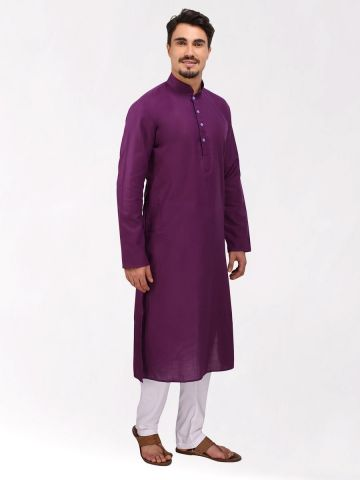 Purple Tussar Cotton Long Kurta