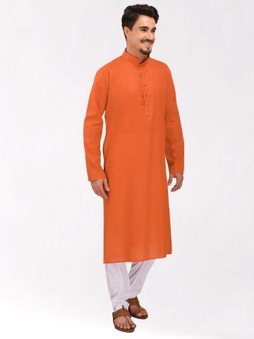 Orange Tussar Cotton Long Kurta