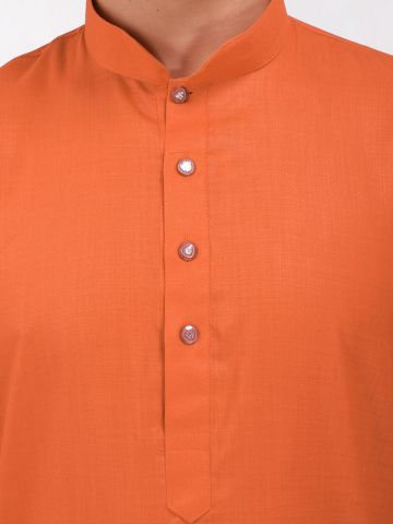 Orange Tussar Cotton Long Kurta