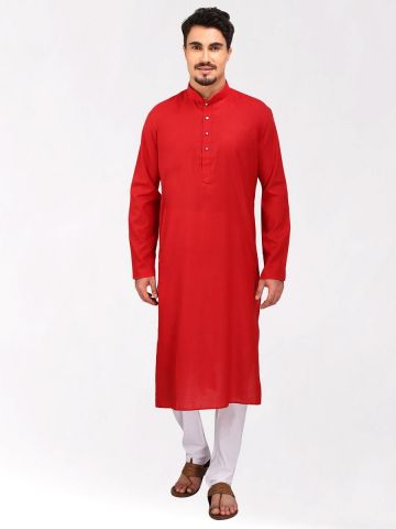 Red Tussar Cotton Long Kurta