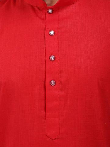 Red Tussar Cotton Long Kurta