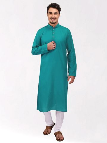 Mint Green Tussar Cotton Long Kurta