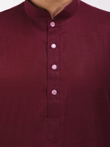 Maroon Tussar Cotton Long Kurta