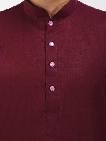 Maroon Tussar Cotton Long Kurta