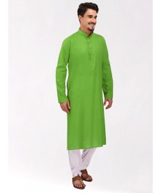 Green Tussar Cotton Long Kurta