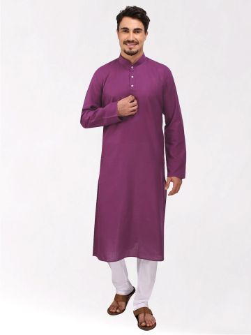 Light Purple Tussar Cotton Long Kurta