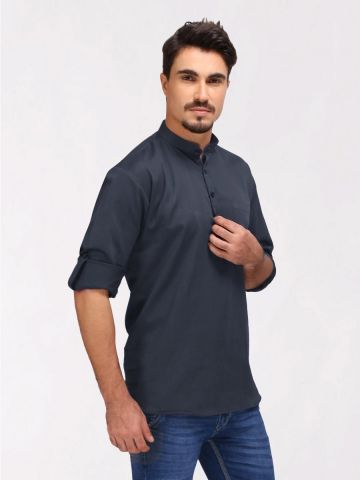 Grey Roll Up Sleeve Cotton Short Kurta