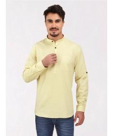 Lemon Yellow Roll Up Sleeve Cotton Short Kurta