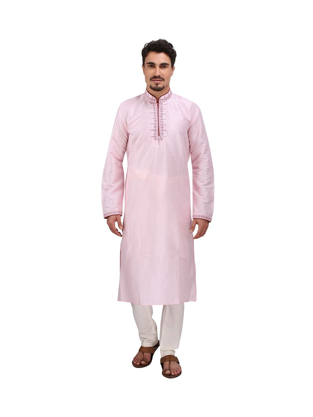 Pink Silk Kurta Churidar
