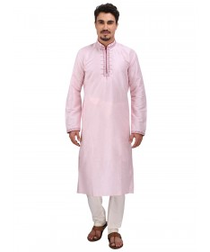 Pink Dori Work Silk Kurta Churidar