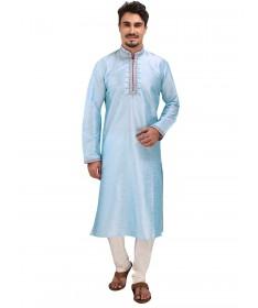 Blue Dori Work Silk Kurta Churidar