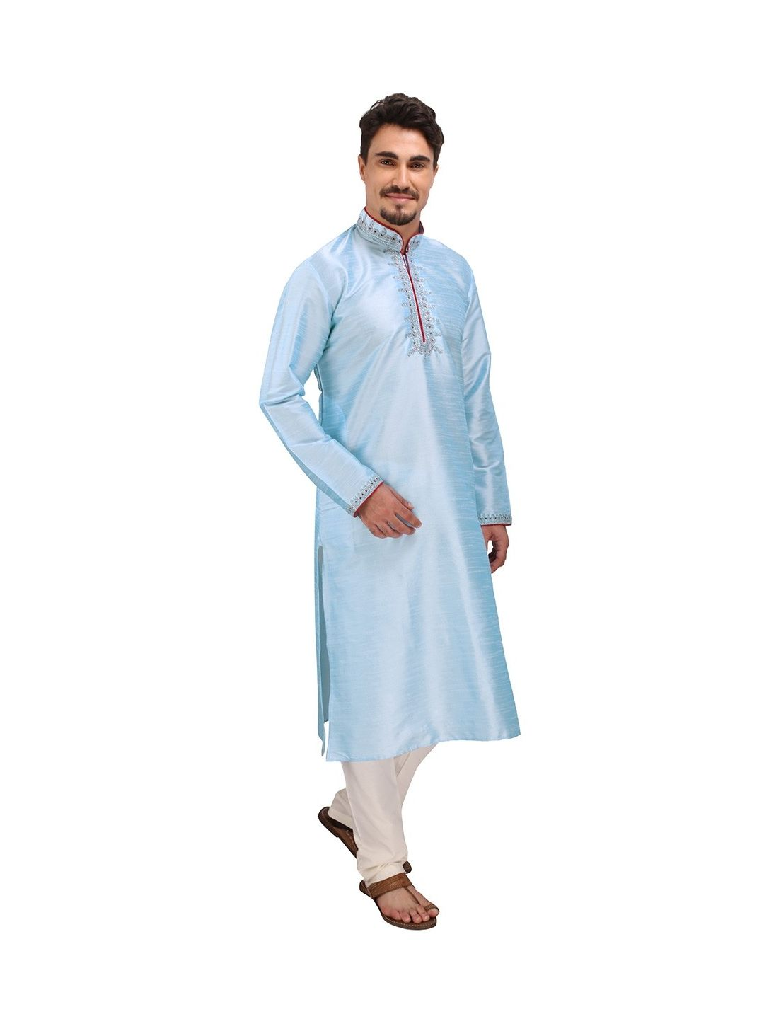 Blue Dori Work Silk Kurta Churidar