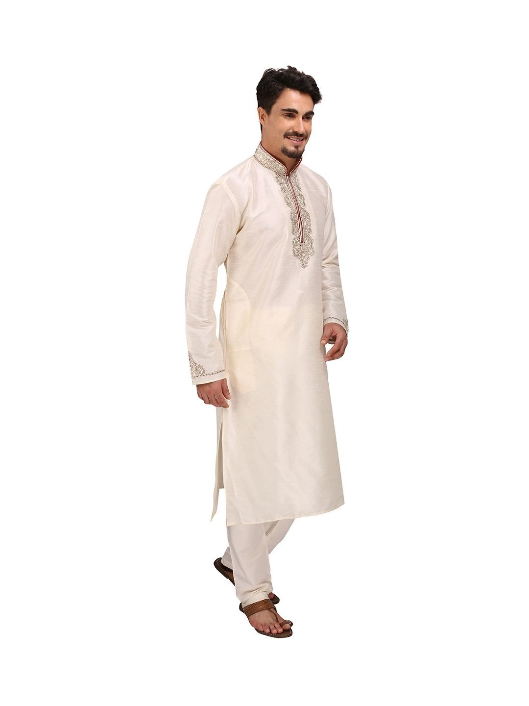 Cream Silk Kurta Churidar