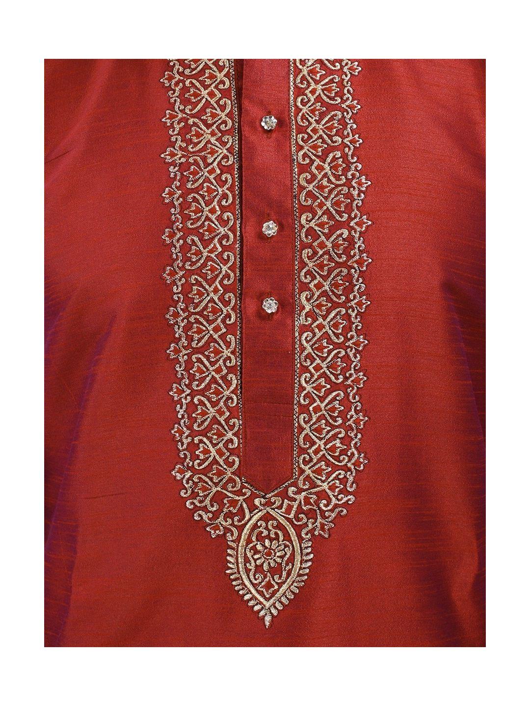 Red Embroidered Silk Kurta Churidar